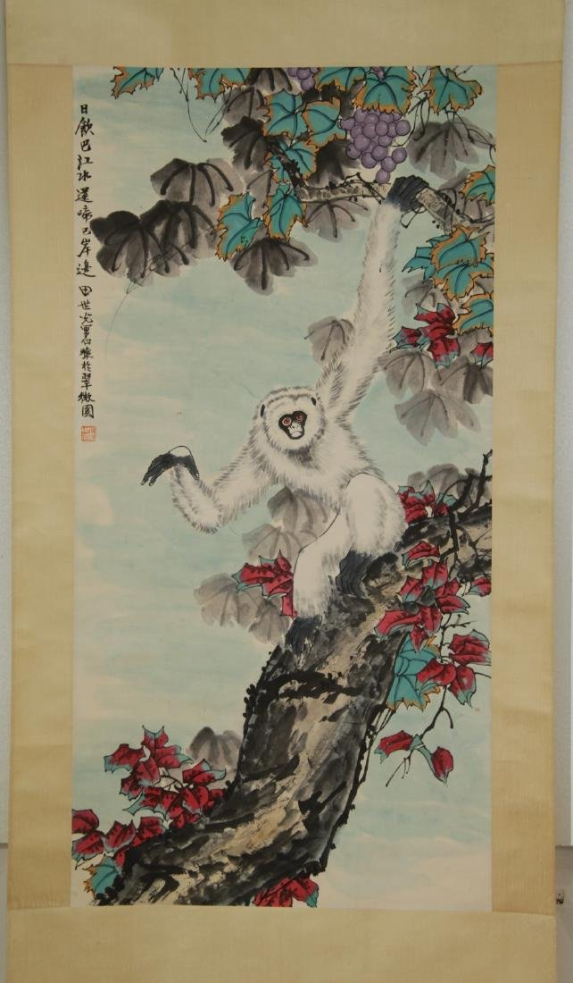 Chinese Monkey Color Scroll Painting