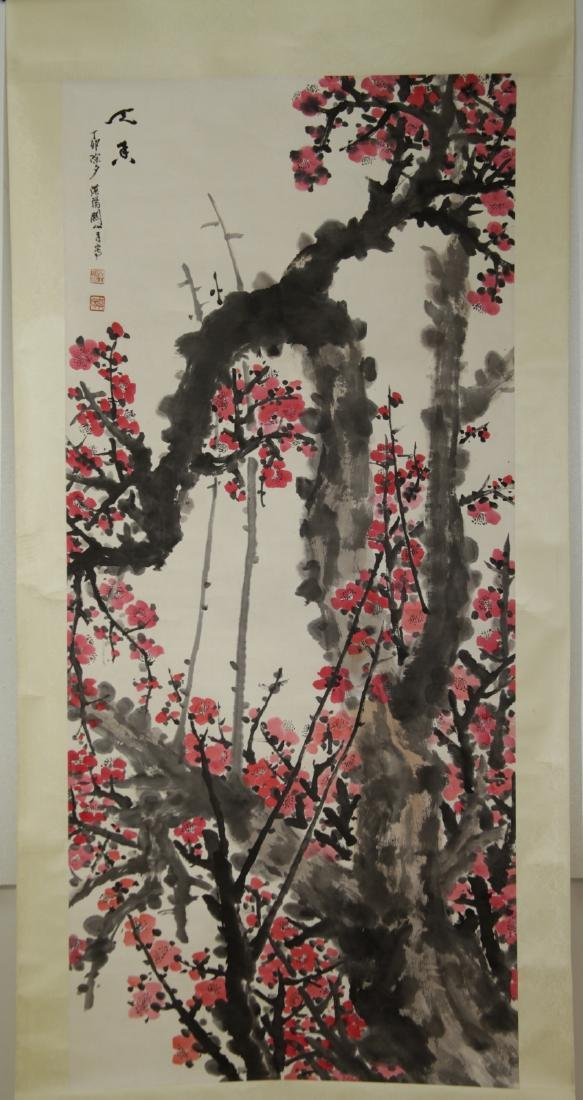 Chinese Flowers Scroll Painting