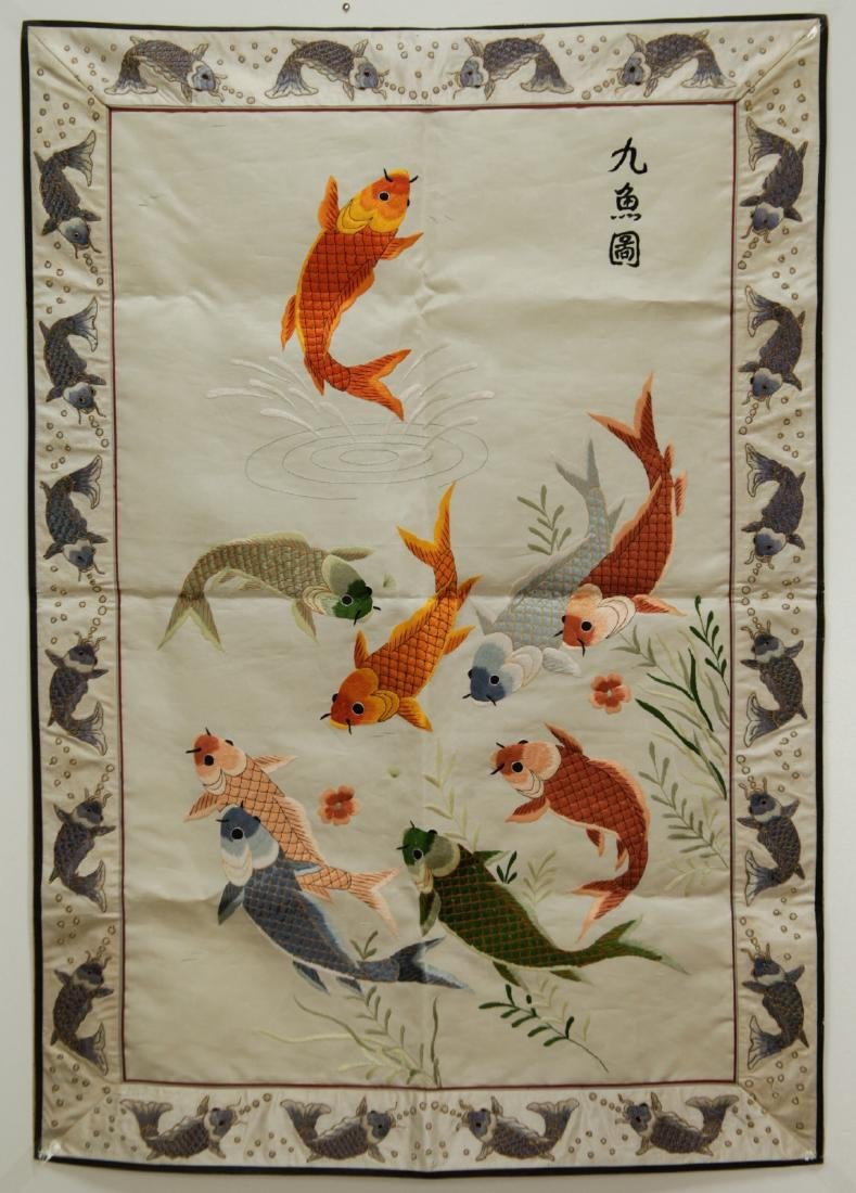 Chinese Silk Painting of Fish