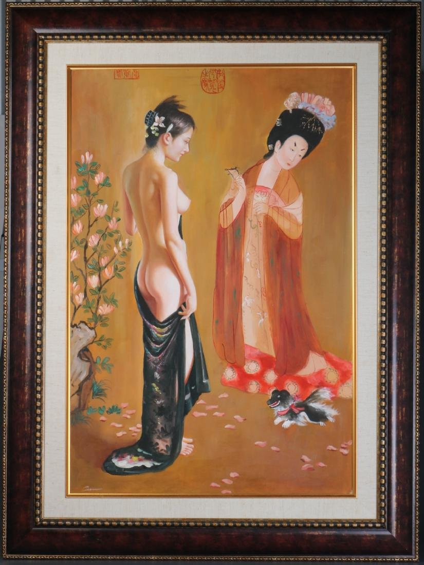 Chinese Oil on Canvas of Two Girl one Nude