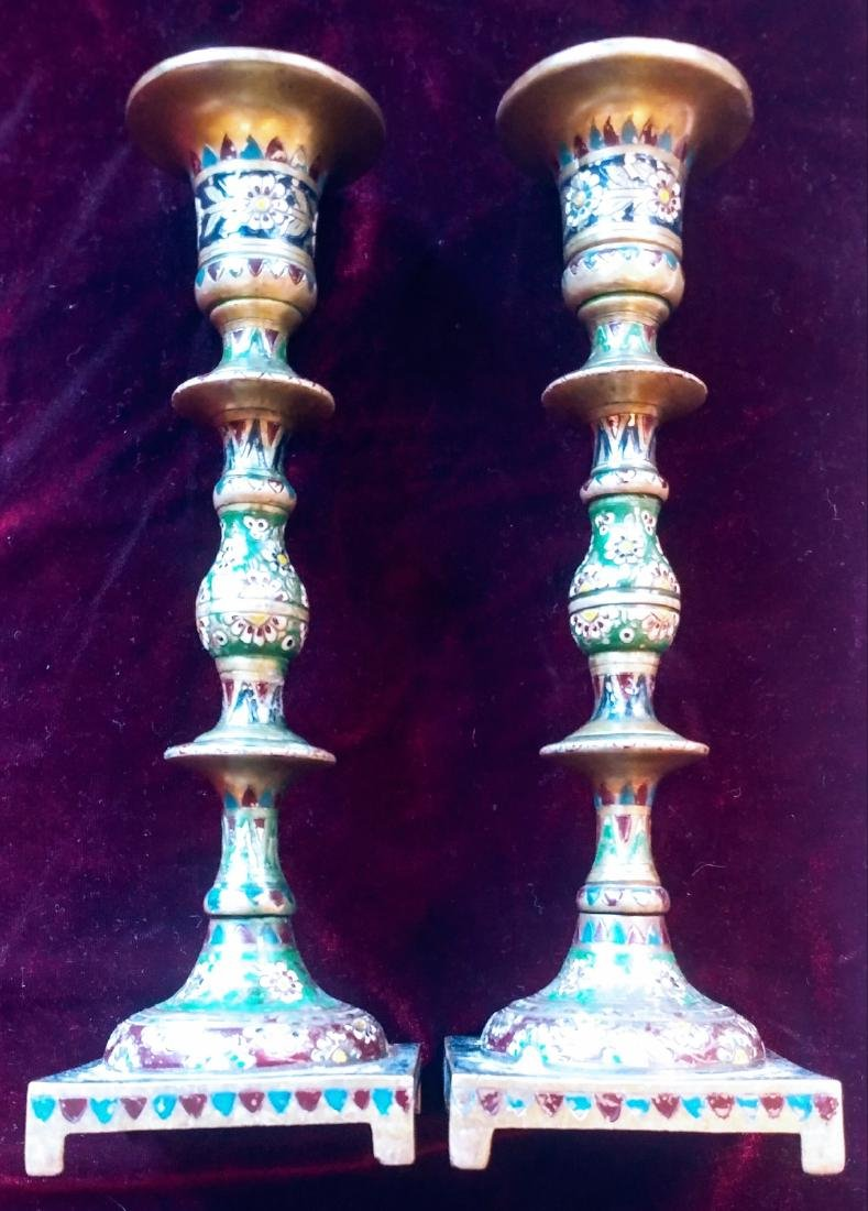 Pair of Bronze candle sticks.