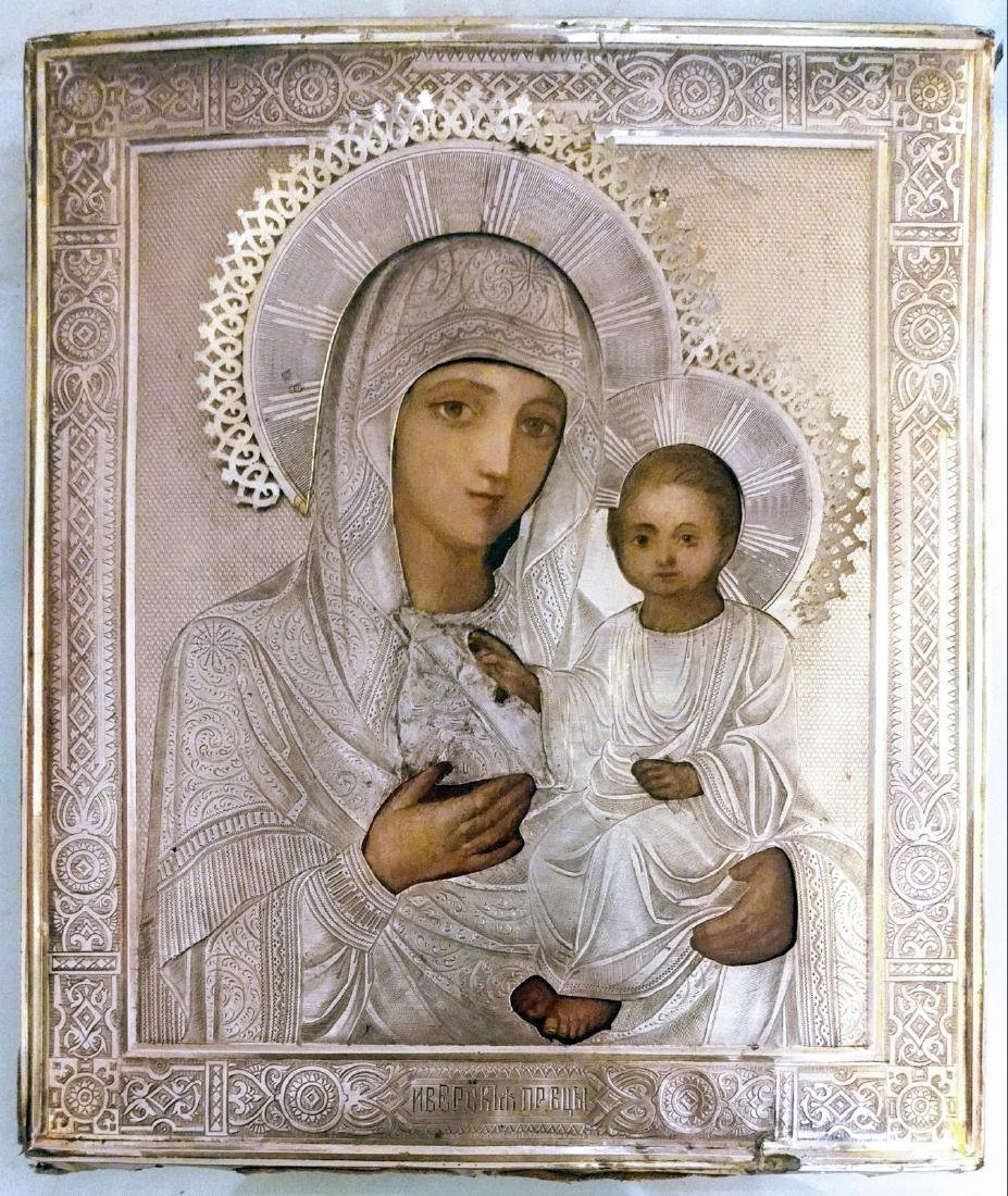 Russian 84 Silver Icon of Iverskaya Mother of God