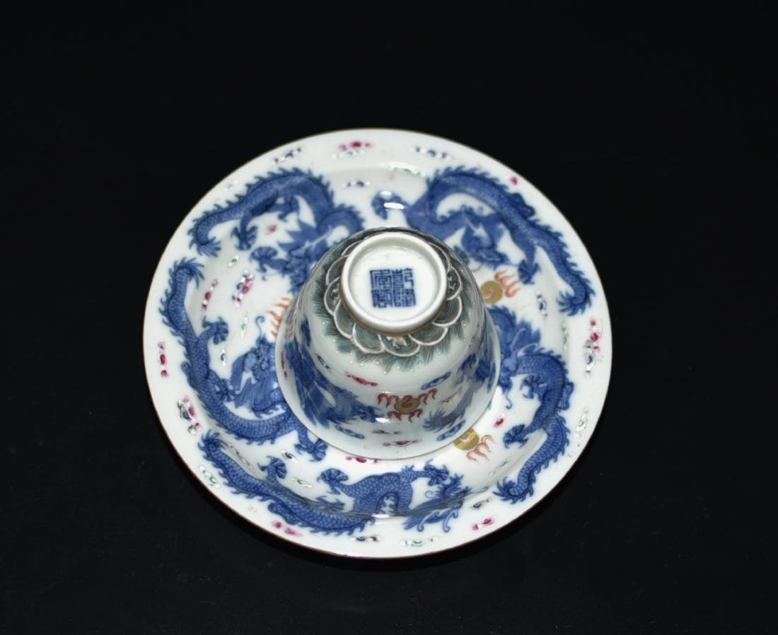 Chinese Blue/White Tea Cup & Dish - 3