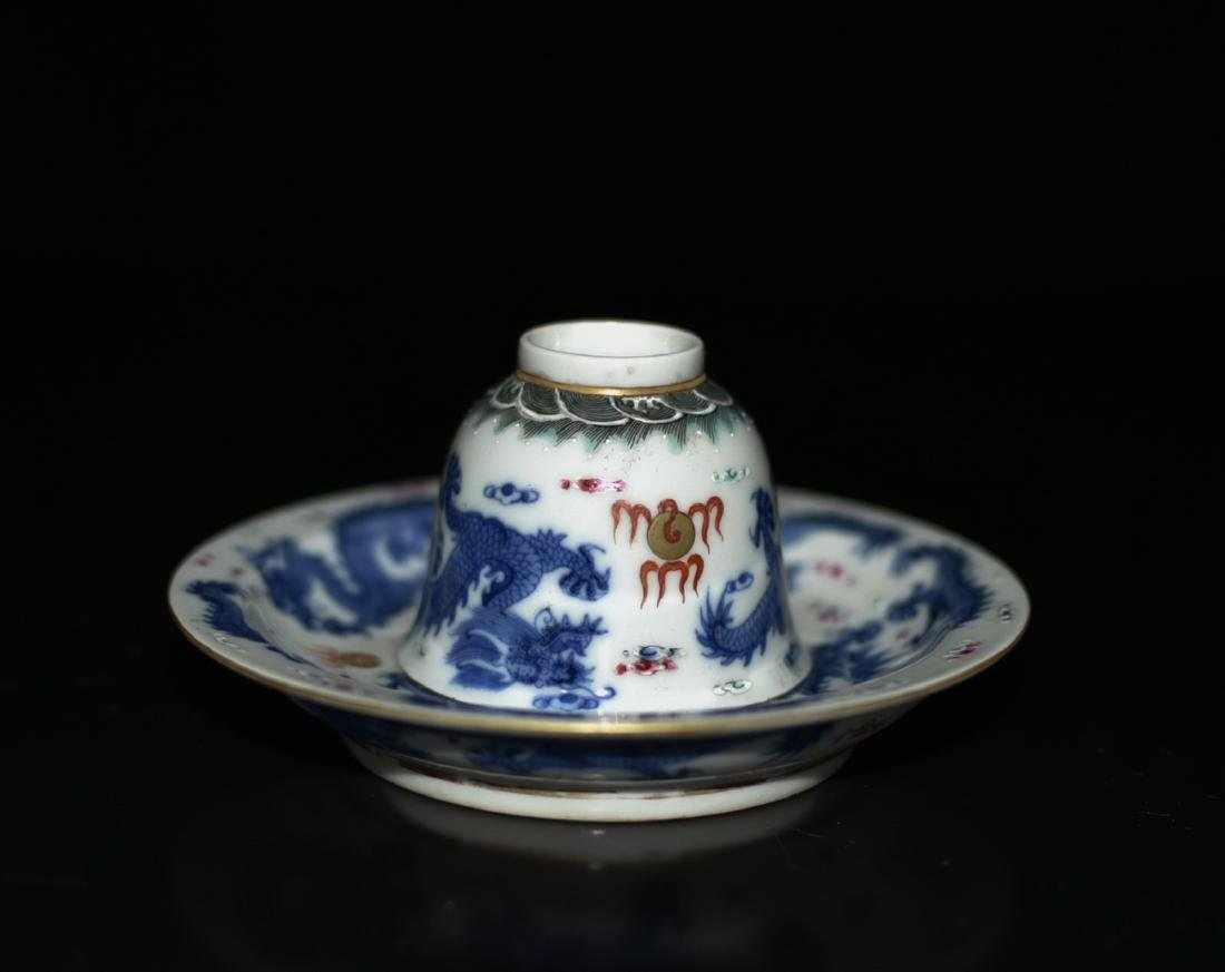 Chinese Blue/White Tea Cup & Dish - 4