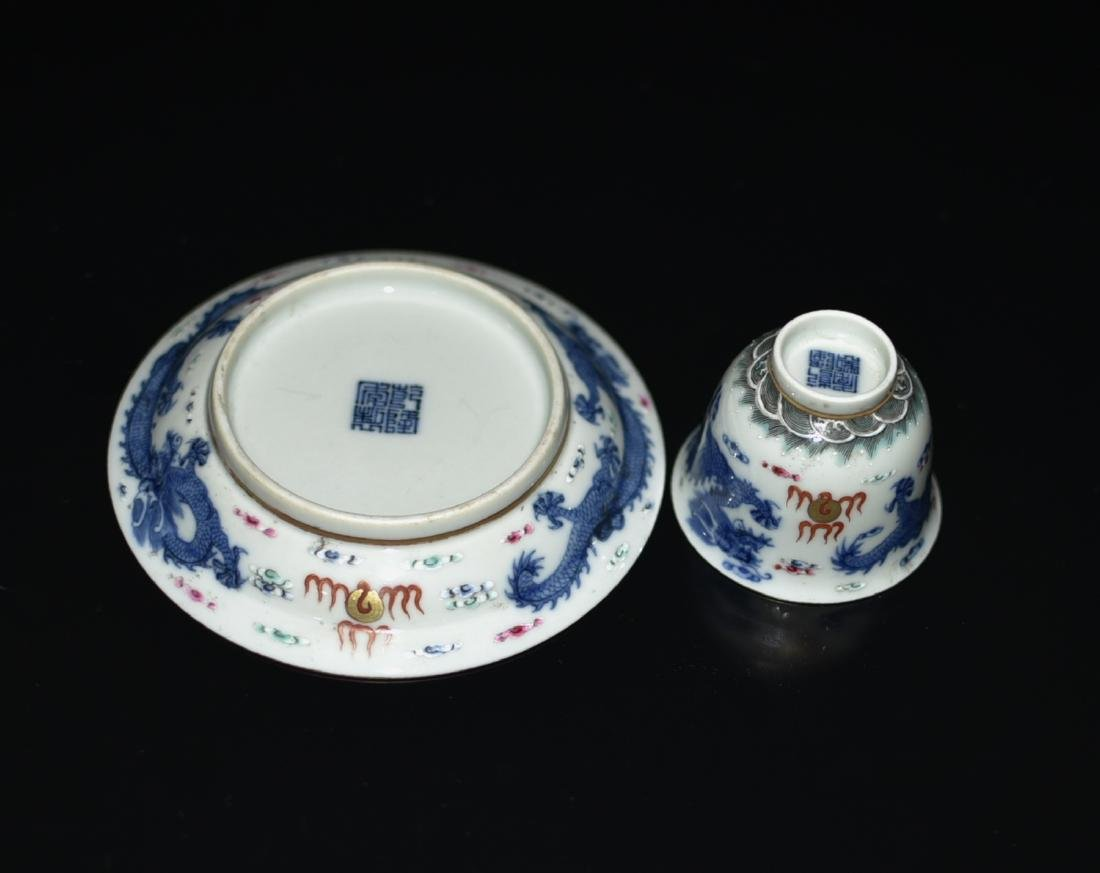 Chinese Blue/White Tea Cup & Dish - 5