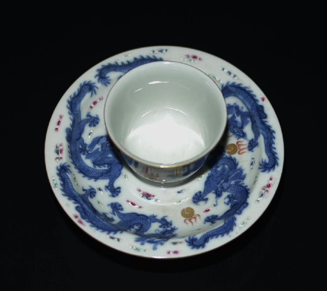 Chinese Blue/White Tea Cup & Dish - 6