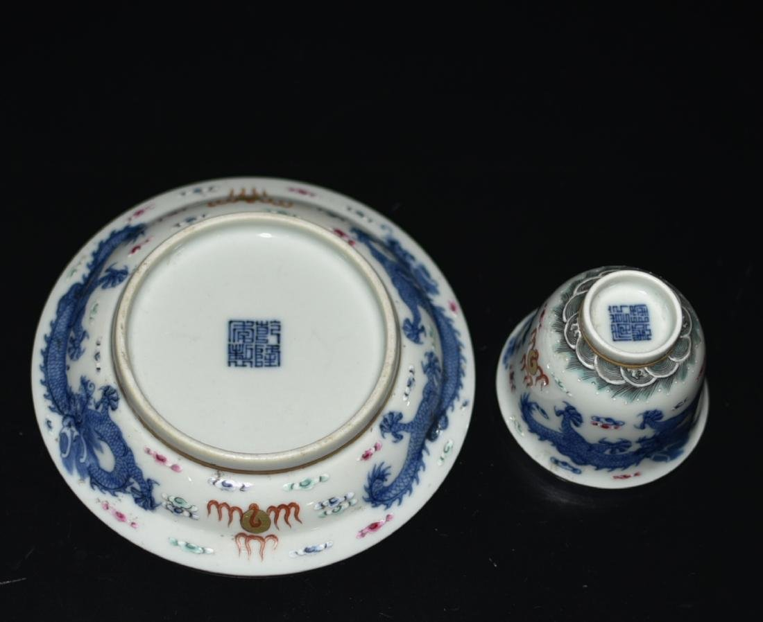 Chinese Blue/White Tea Cup & Dish - 9