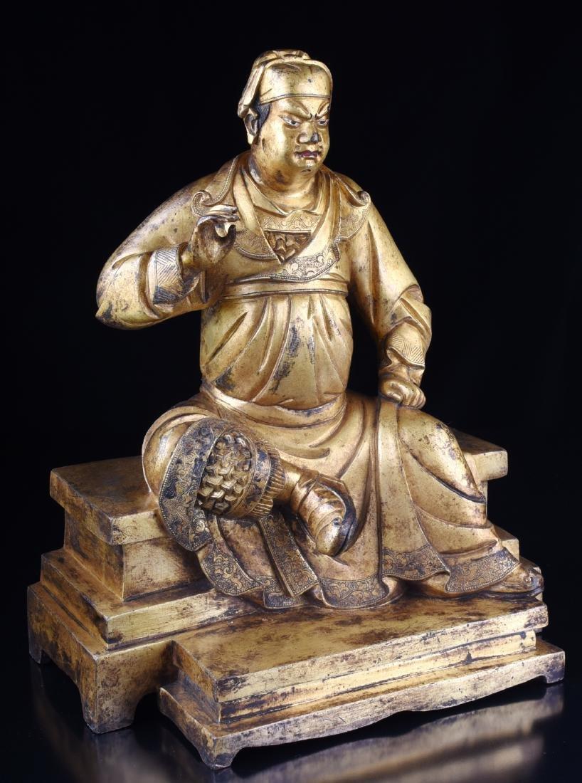 Chinese Gilt Bronze Guangong