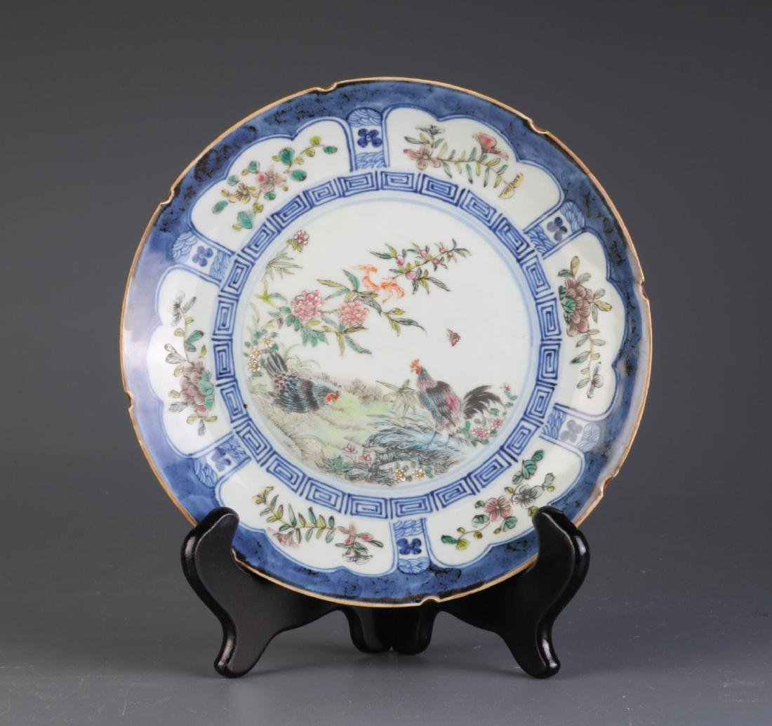 Chinese Famille Rose Blue/White Porcelain Plate