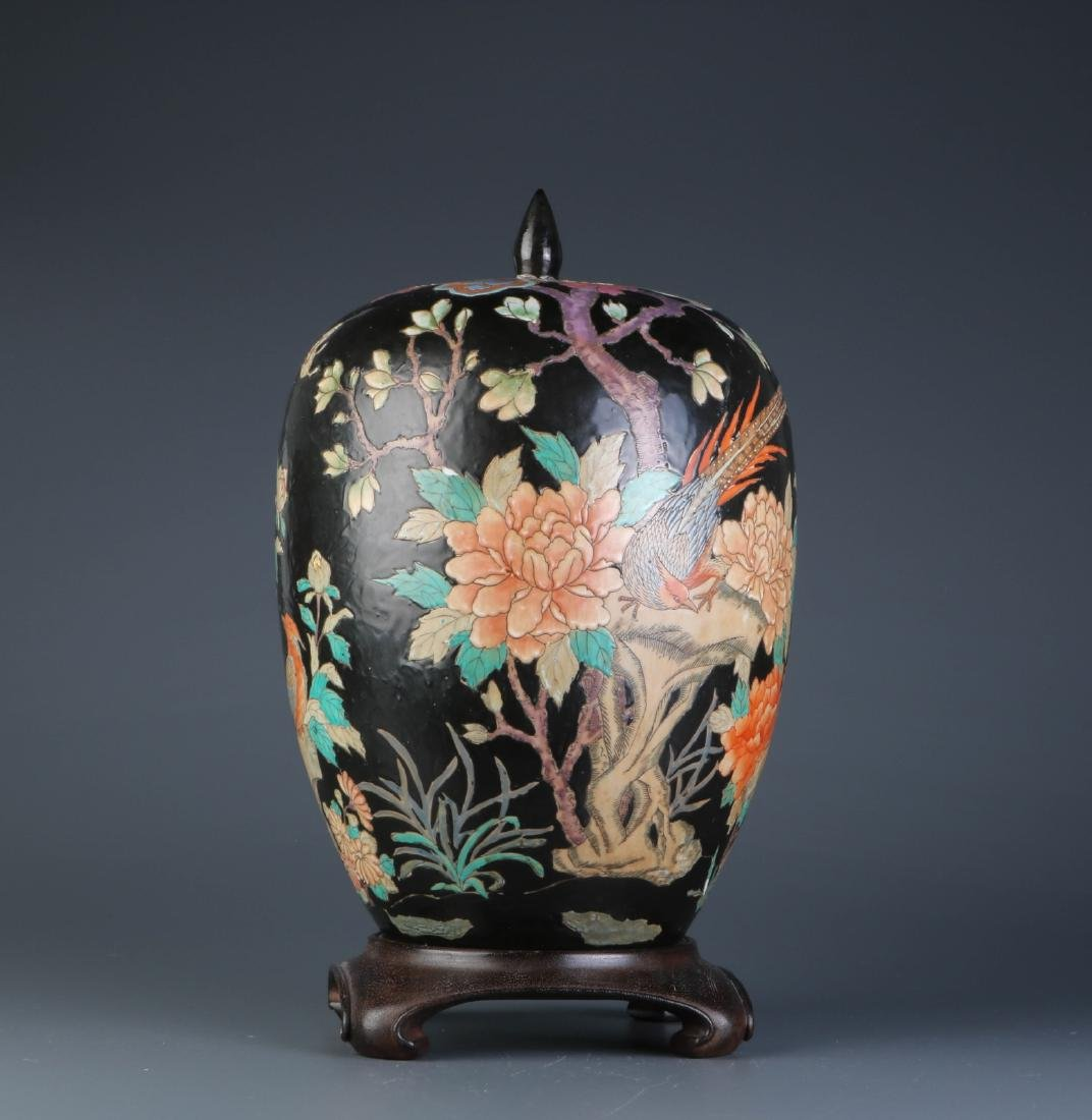 Chinese Tall Black Glazed Cover Jar w Stand
