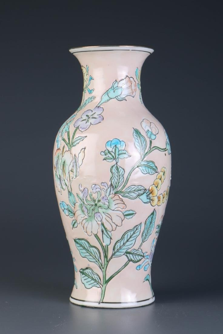 Chinese Pinkish Flower Porcelain Vase