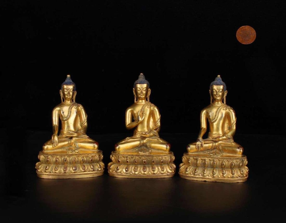 Set 3 Pieces Chinese Gilt Bronze Buddha