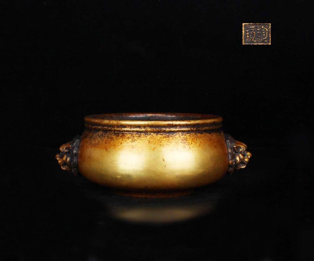 Chinese Gilt Bronze Incense Burner, Marked