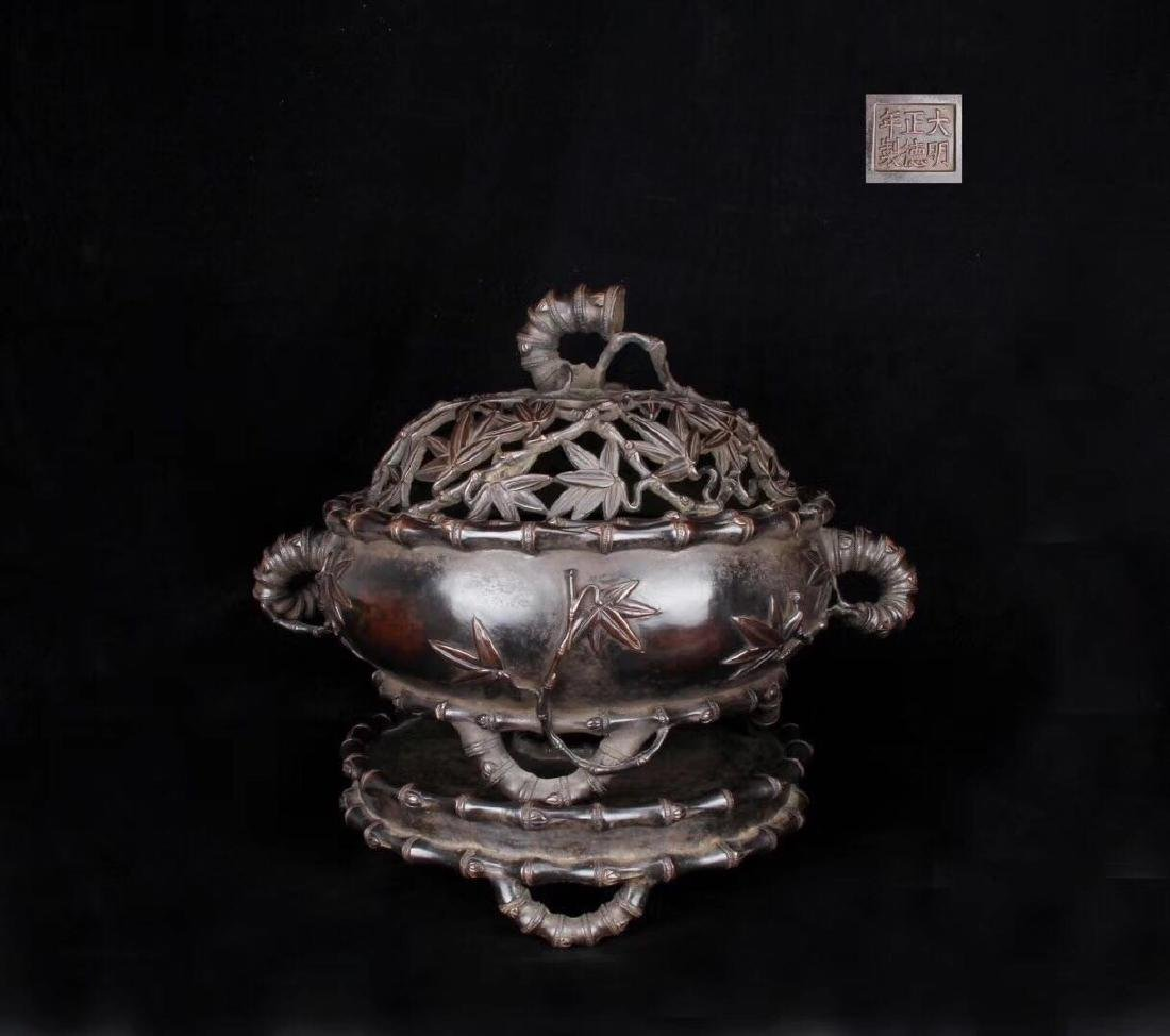 Chinese Bronze Incense Burner, Marked