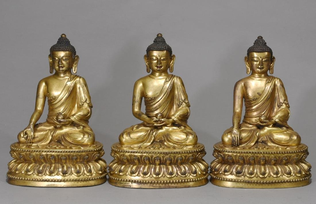 Set of 3 Pieces Chinese Gilt Bronze Buddha