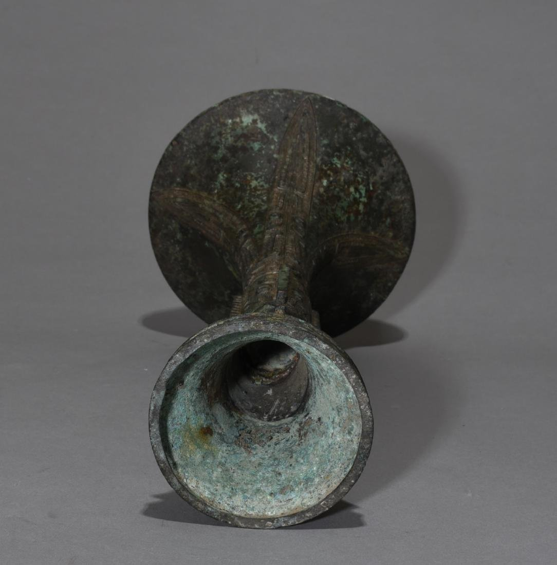 Chinese Archaic Bronze Gu Vase - 5