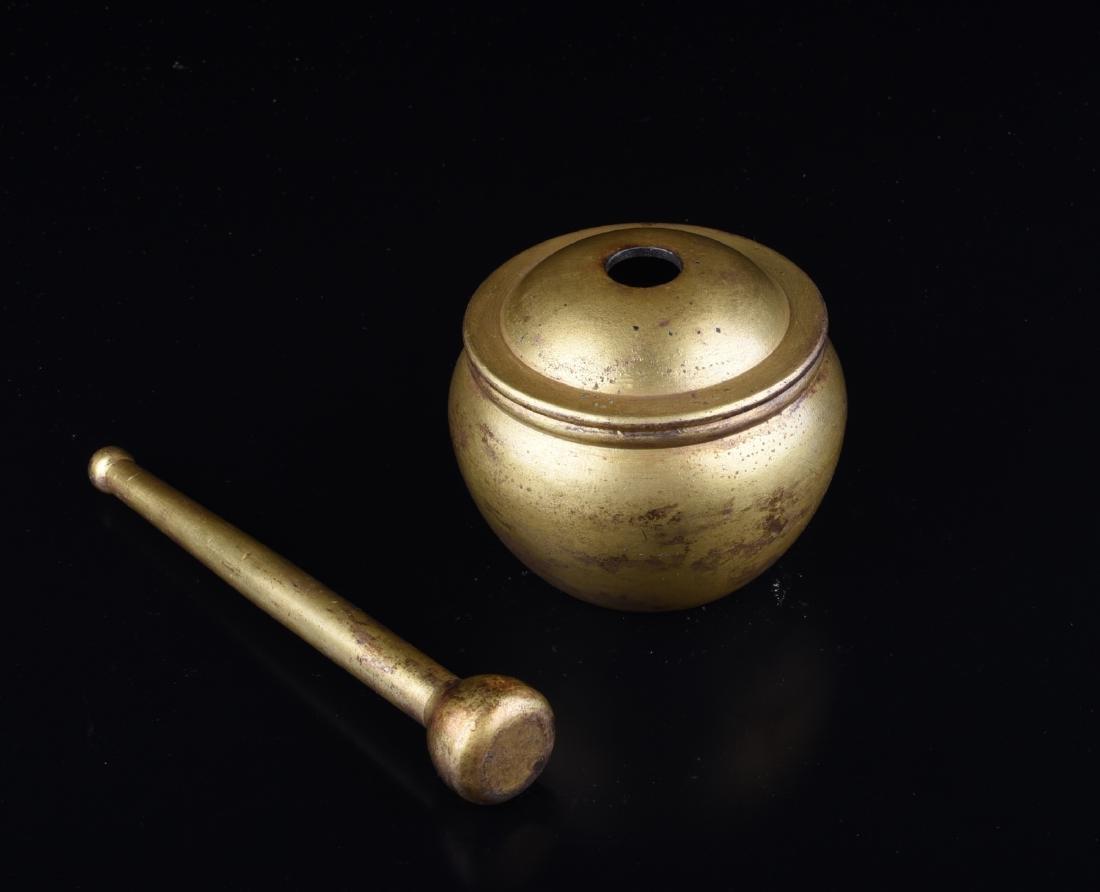Chinese Gilt Bronze Herb Stirrer