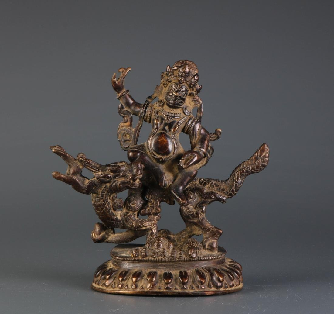 Chinese Bronze Buddha Riding Dragon Like Beast