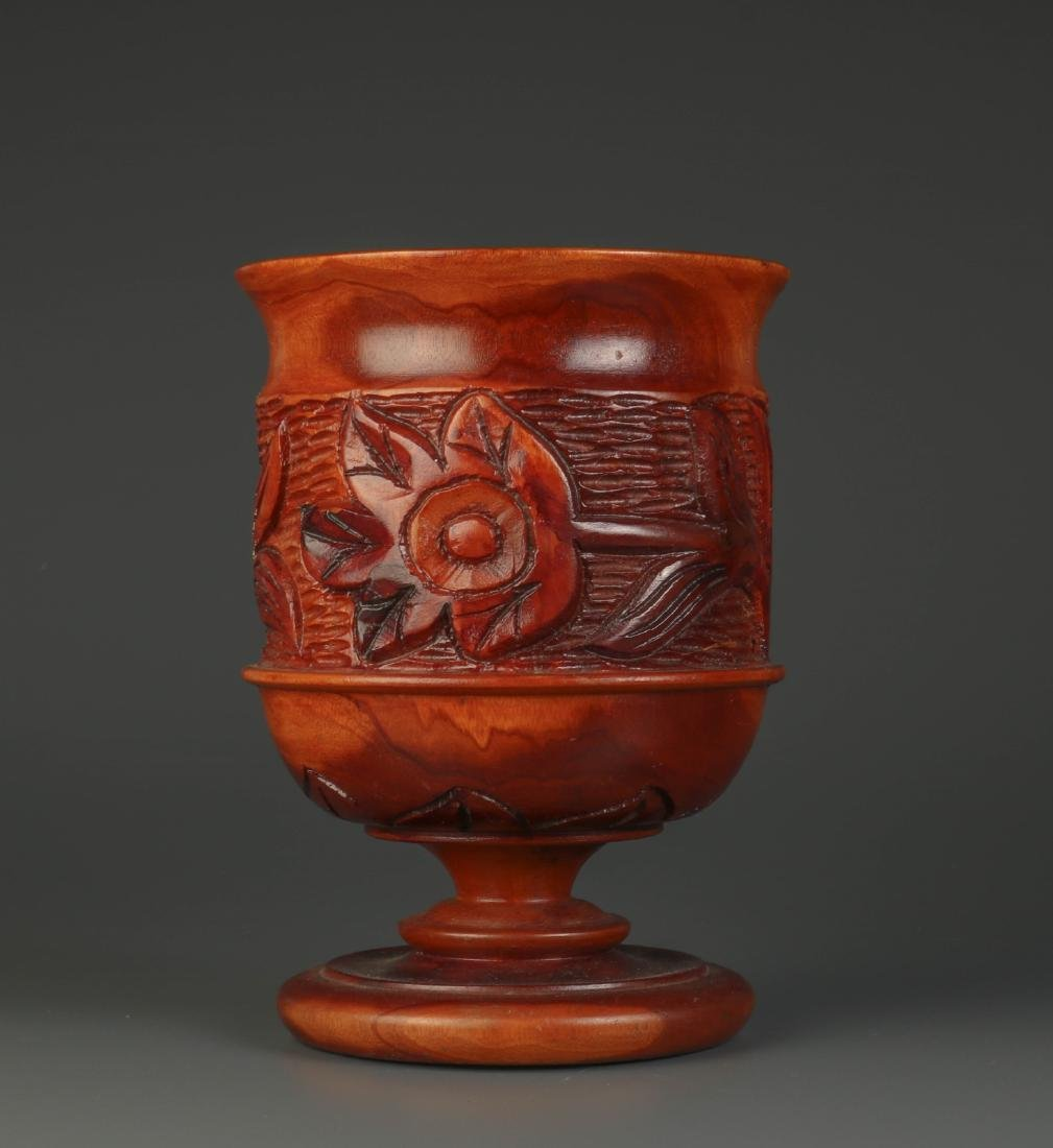 Chinese Carved Wood Fruit Jar