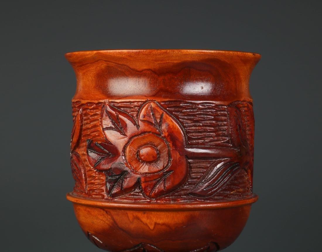 Chinese Carved Wood Fruit Jar - 2