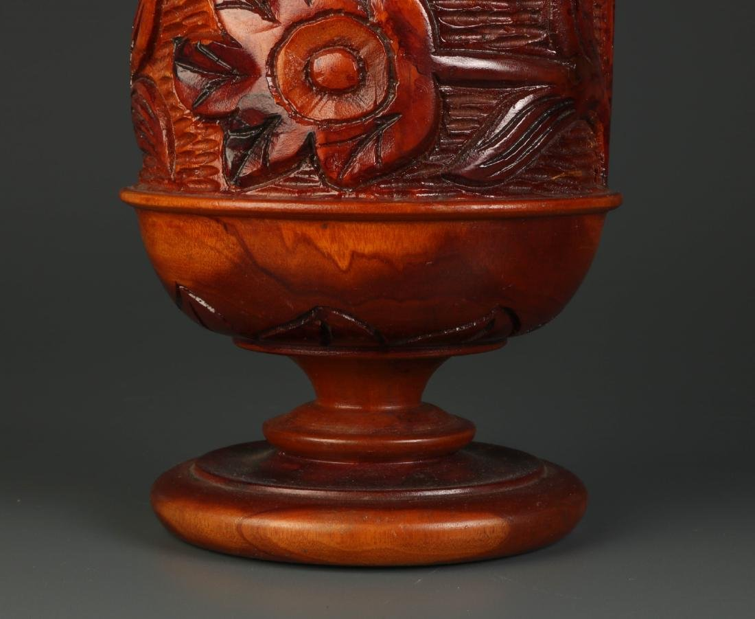 Chinese Carved Wood Fruit Jar - 3