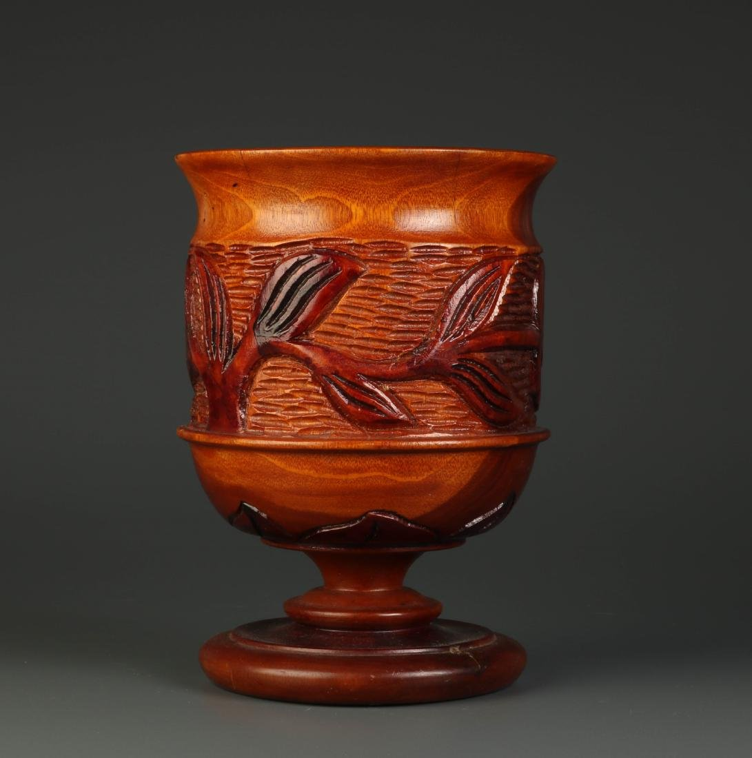 Chinese Carved Wood Fruit Jar - 4