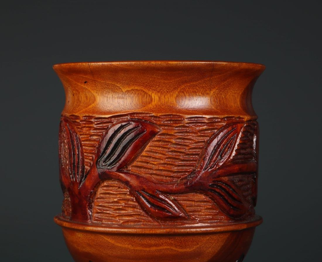 Chinese Carved Wood Fruit Jar - 5