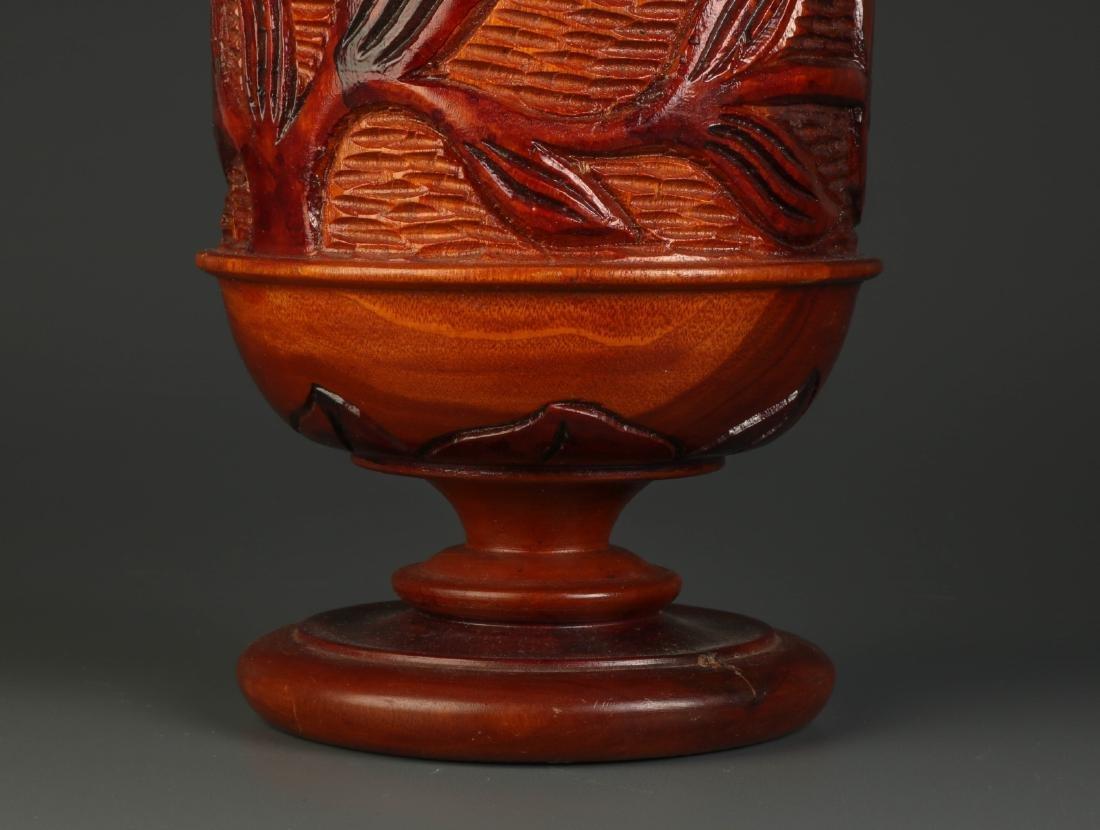 Chinese Carved Wood Fruit Jar - 6