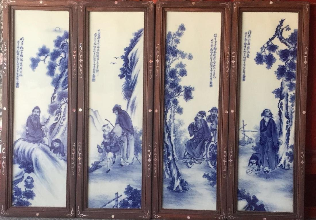 Set of Chinese Blue/White Porcelain Plaques, Marke