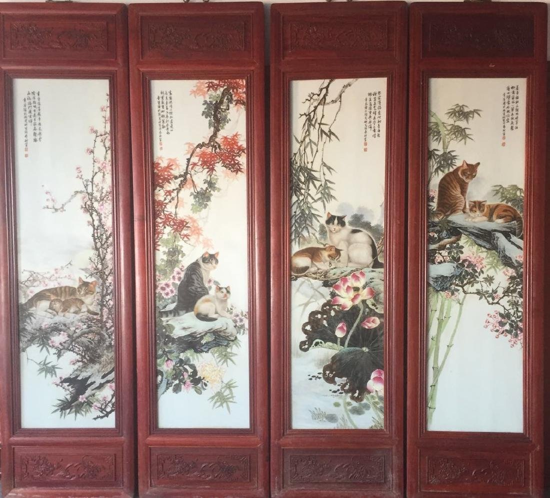 Set of Chinese Famille Rose  Porcelain Plaques