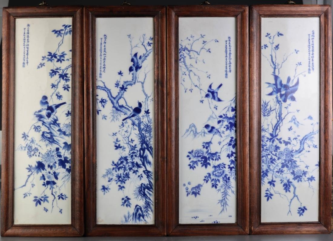 Chinese Blue/White Porcelain 4 Panels Plaques