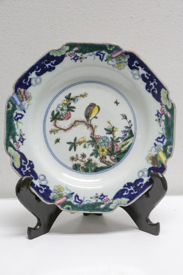 Chinese Famille Verte Porcelain Plate, Bird Design