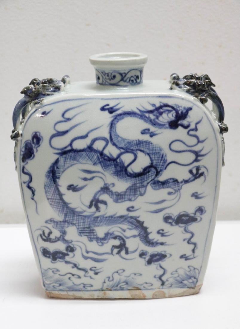 Chinese Blue/White Porcelain Dragon Vase
