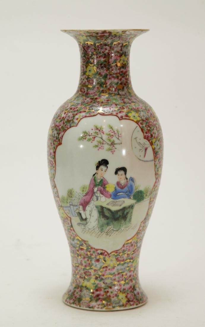 Chinese Porcelain Vase w/ Lady and Gilt Deco