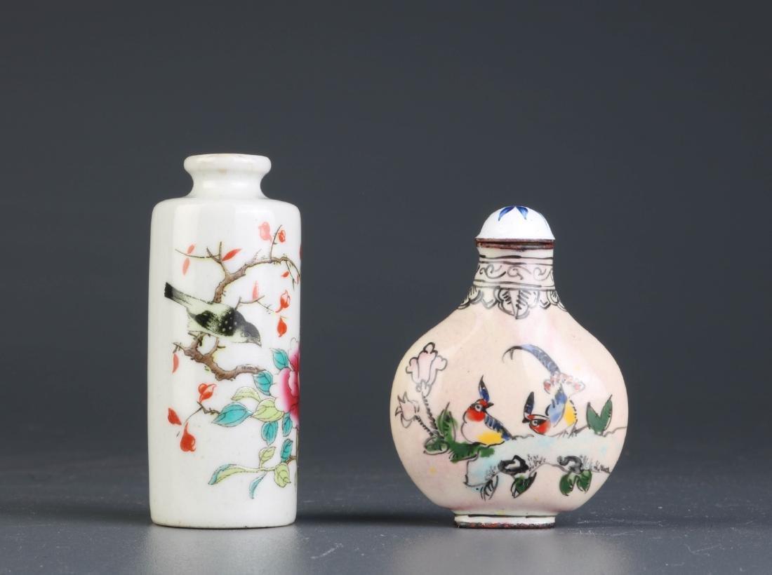 2 Pcs of CHinese Porcelain & Enamel Snuff Bottle