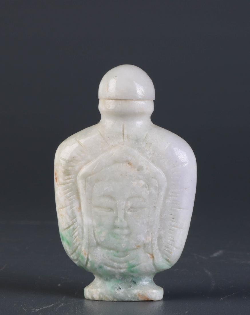 Chinese Jade Snuff Bottle w/ GuanYin