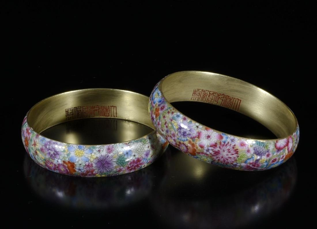 2 Pieces of Chinese Porcelain Enamel Bangle