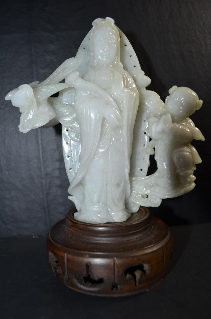 Antique Chinese Carved Jadeite Statue Of Kwan-yin