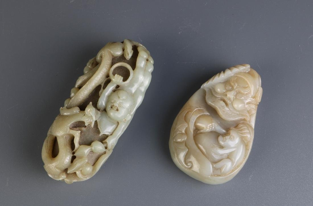 2 Pieces of Chinese Celadon Jade Carvings