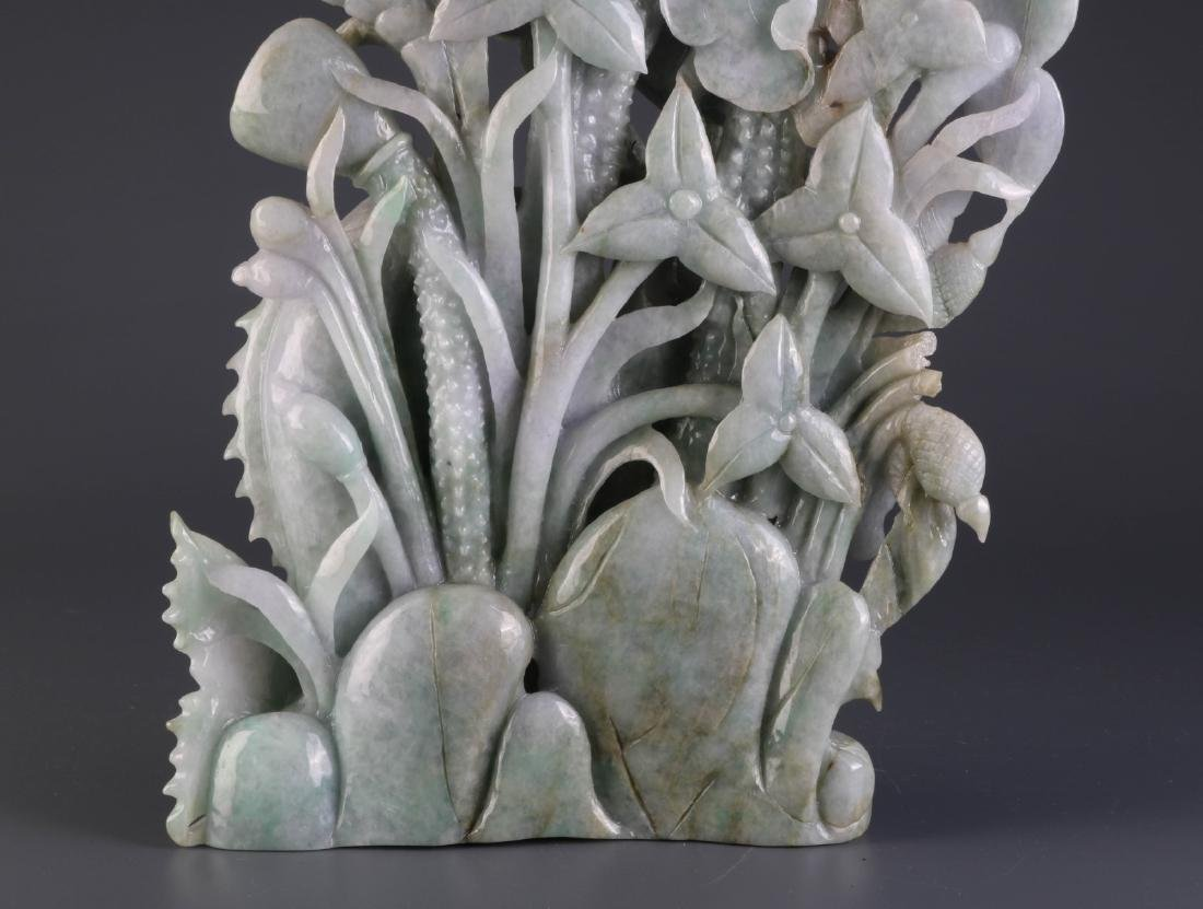 Chinese Jadeite Carving of Fish and Lotus - 10