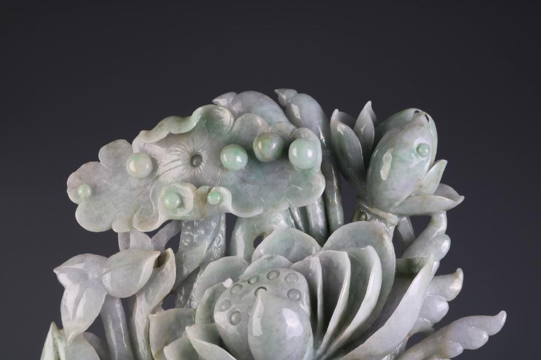 Chinese Jadeite Carving of Fish and Lotus - 2