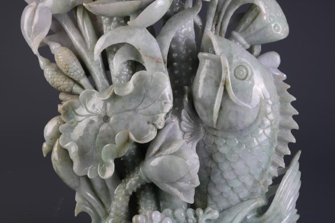 Chinese Jadeite Carving of Fish and Lotus - 4