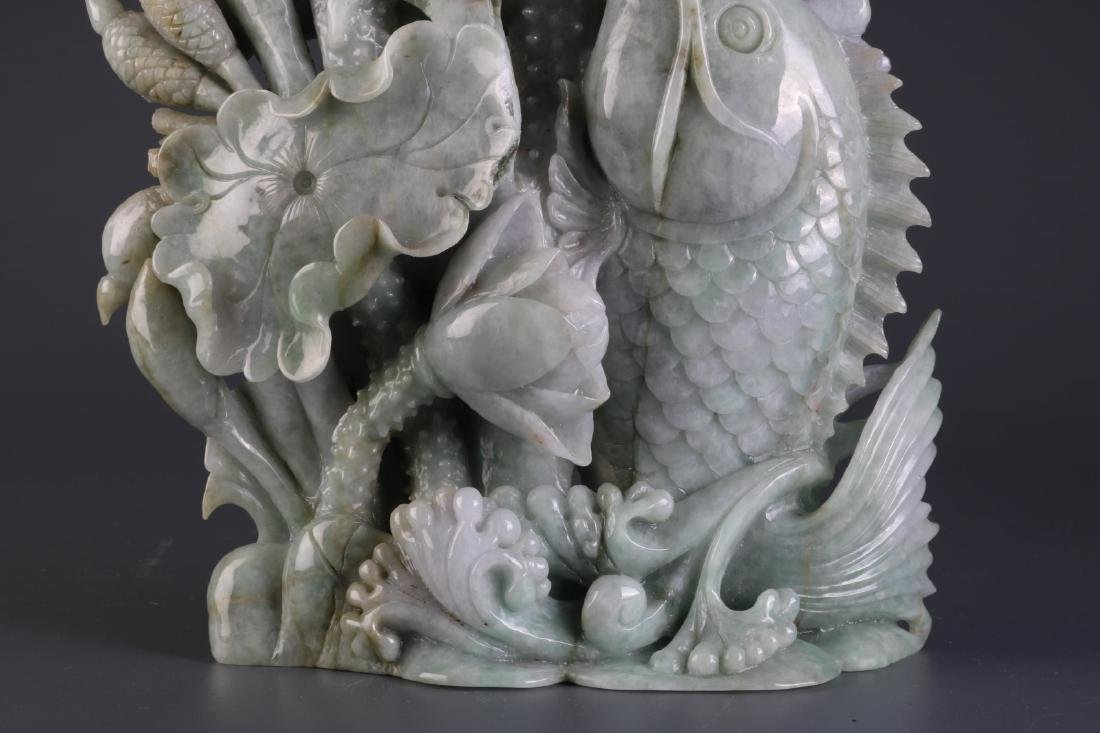 Chinese Jadeite Carving of Fish and Lotus - 5