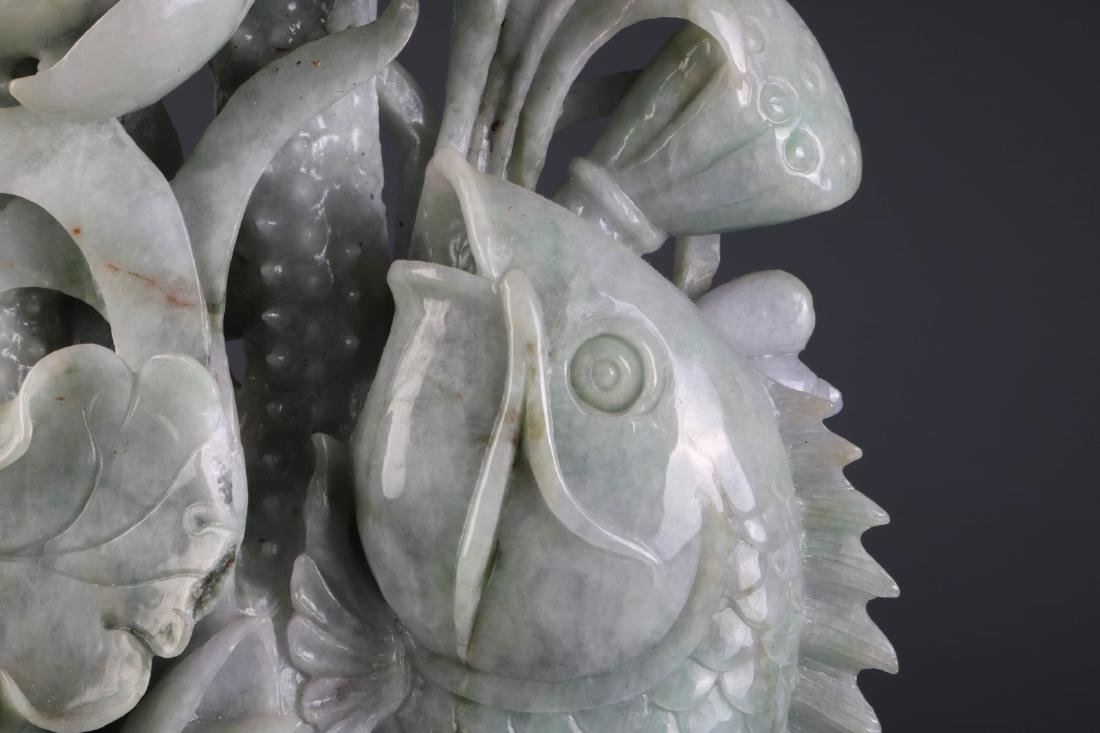 Chinese Jadeite Carving of Fish and Lotus - 6