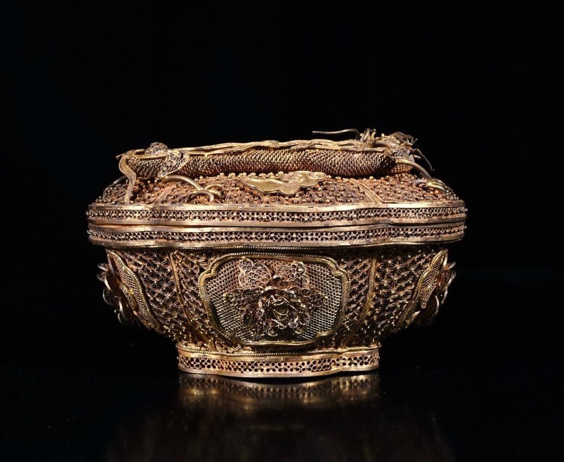 Chinese Gilt Bronze Covered Box