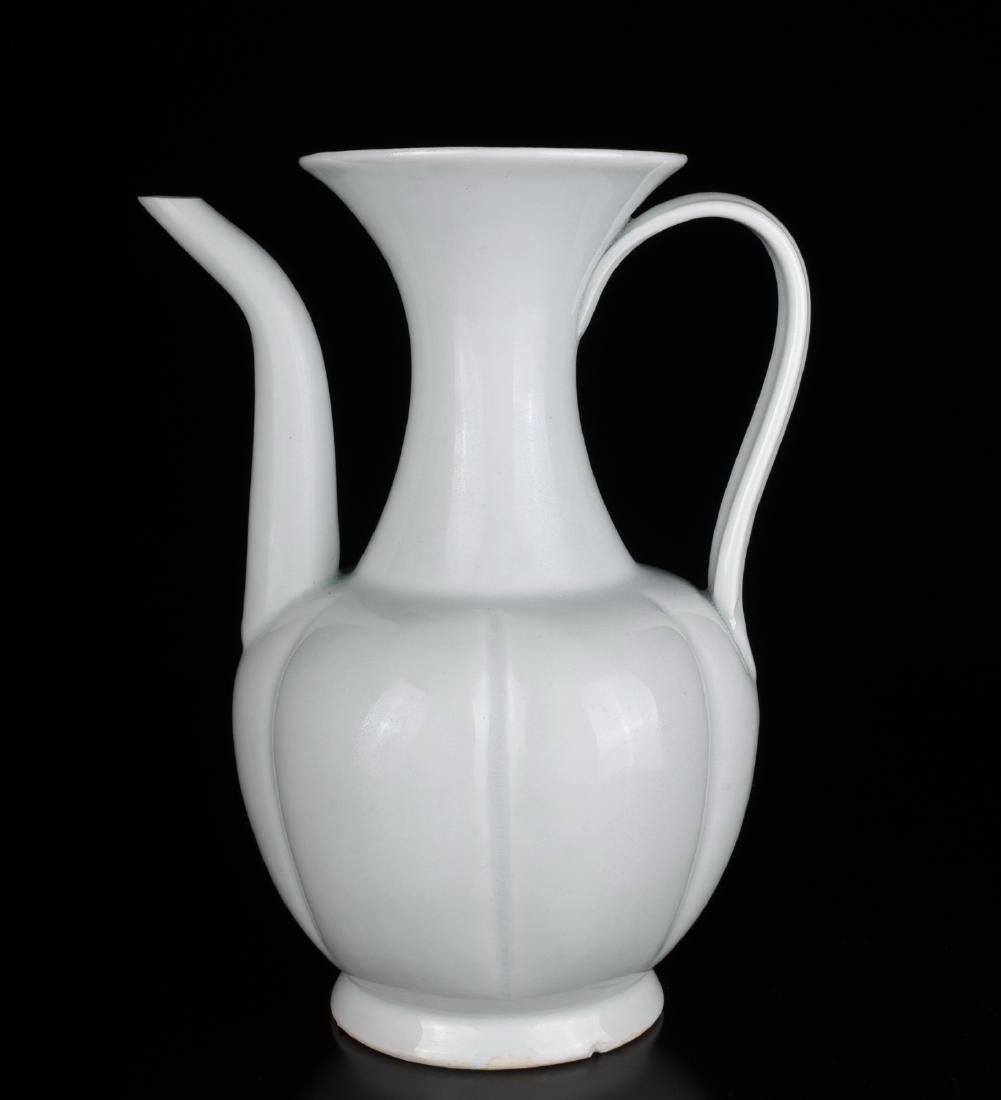 Chinese White Glazed Ceramic Ewer