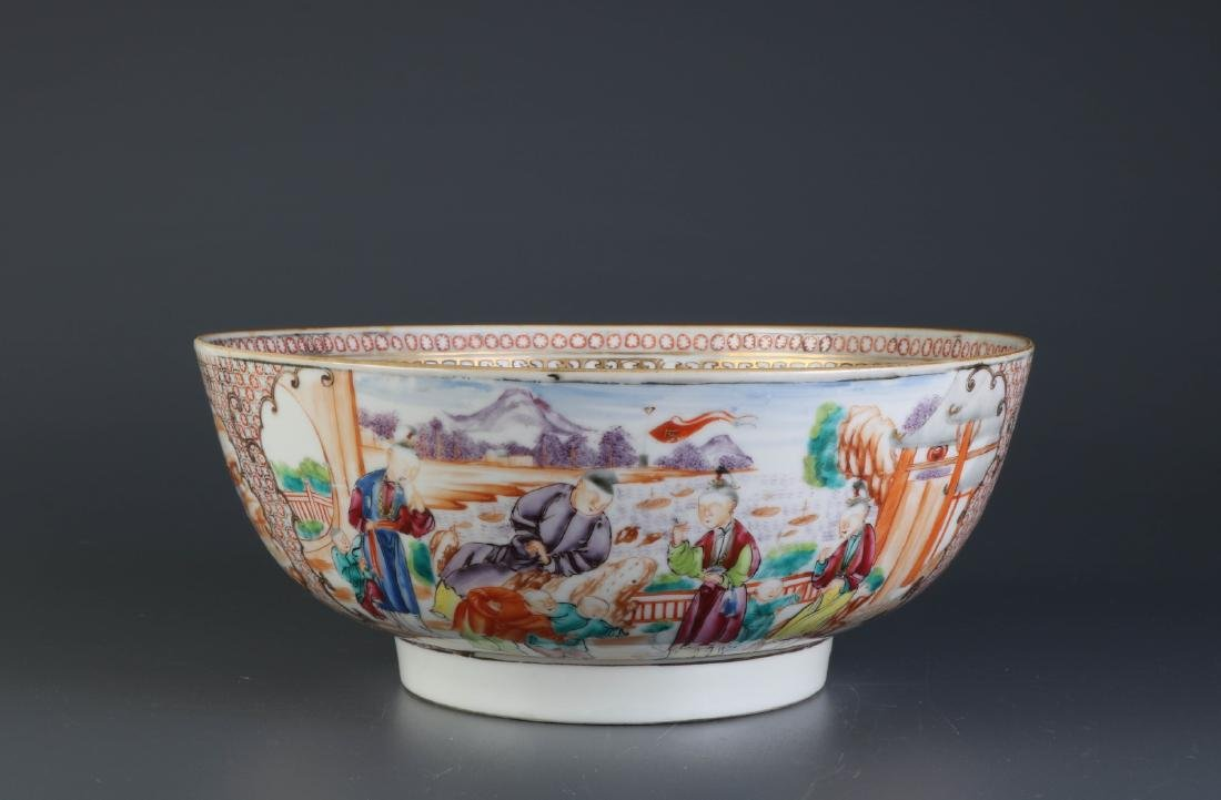 Chinese 18th C. Export Porcelain Big Bowl w/ Gilt