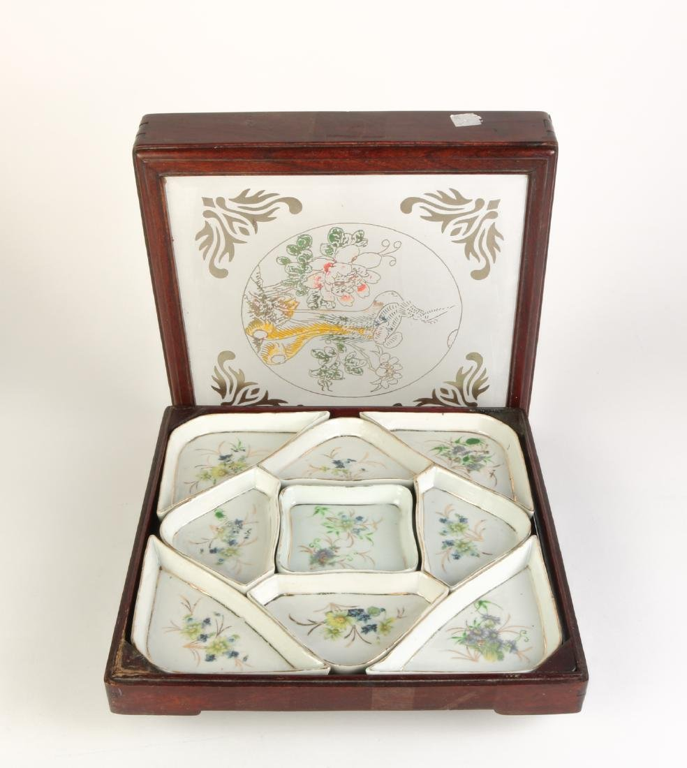 Set of Chinese Porcelain Fruit Tray w/ Wood Box