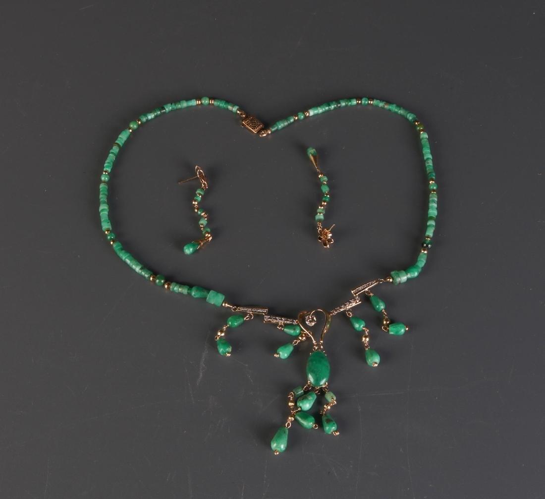 Set of Emerald Necklace & Earring w/ Diamond
