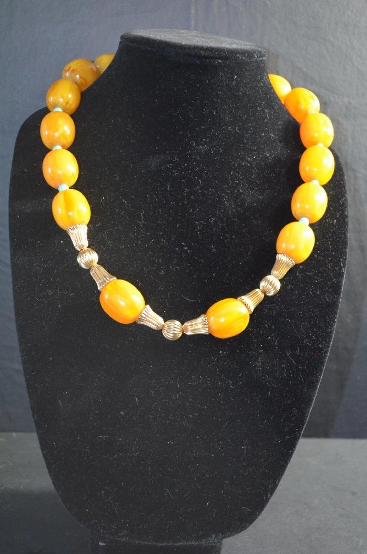 Rare Huge Old Butter Scotch Amber &Turquoise 14k